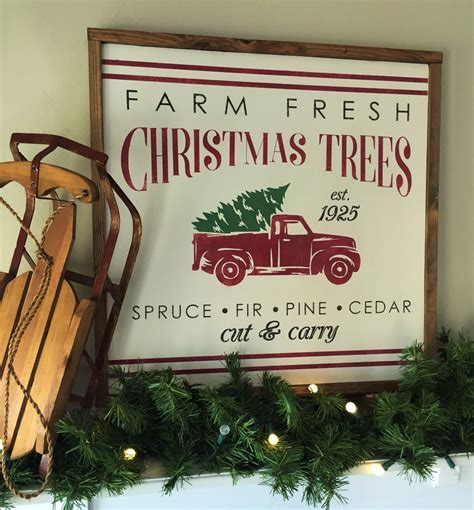 18 square vintage christmas tree farm wall by