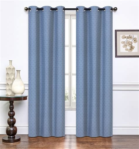 pair of lynette slate blue window curtain panels w grommets