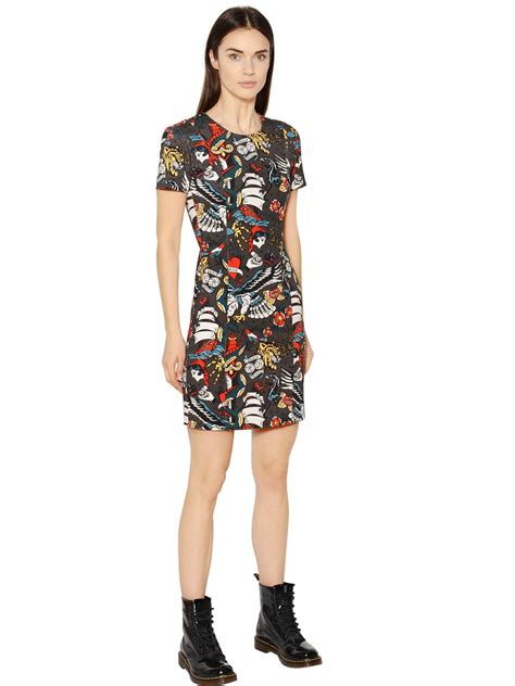 dress tattoo lyst moschino printed cotton drill dress in