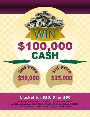 Cash Prize Giveaways - 16 free raffle flyer templates prize cash 50 50 fundraising and more