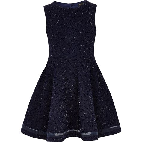 river island knitted dress river island navy knit look skater dress in blue lyst