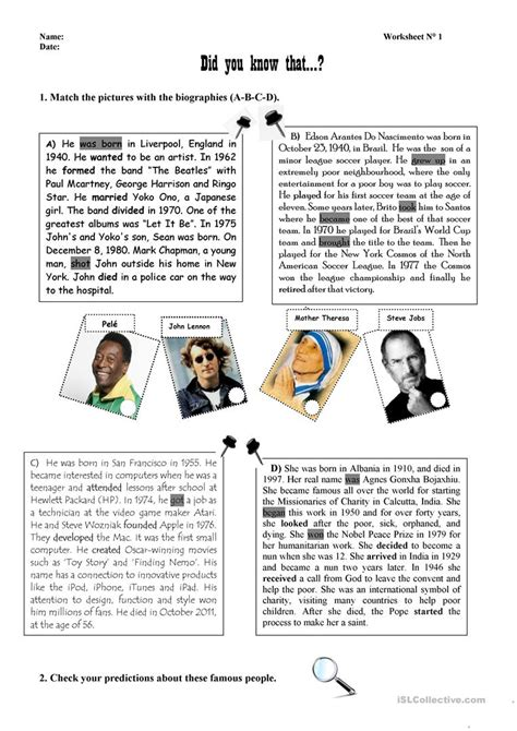 exercise about biography biographies of famous people worksheet free esl