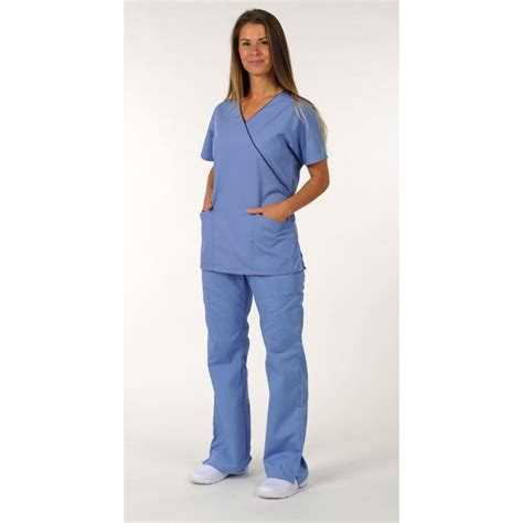 Shopa Top Dds dickies mock wrap top and boot cut trouser scrub suit
