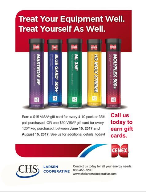 Chs Gift Cards - plan ahead to purchase cenex 174 grease this summer for gift cards chs larsen cooperative