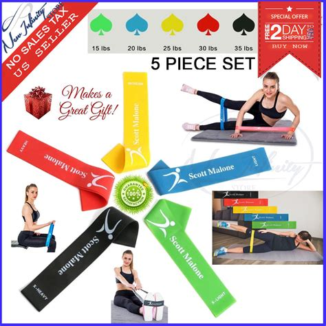 5 pack exercise resistance bands workout loop band home