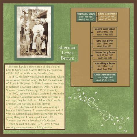 scrapbook layout family tree family history scrapbook layout with mini family tree