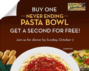 olive garden bogo free never ending pasta bowl select