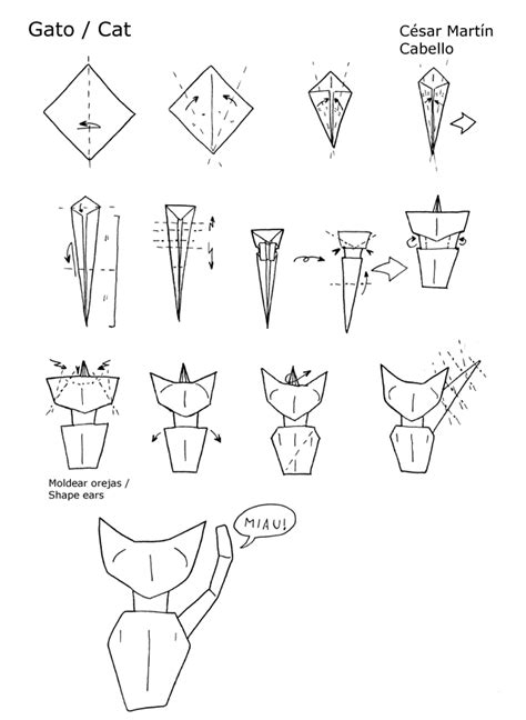 Cat Origami Diagram - origami cat diagrams by pepius on deviantart