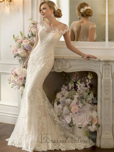 Wedding Hair For Keyhole Back Dress by Lace Sheer Sleeves Illusion Keyhole Back