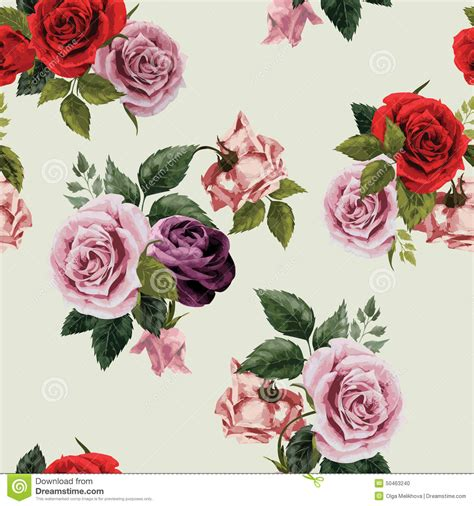 pink rose pattern clipart seamless floral pattern with red purple and pink roses on