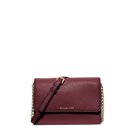 Small Leather by Michael Kors Daniela Small Leather Crossbody In Purple