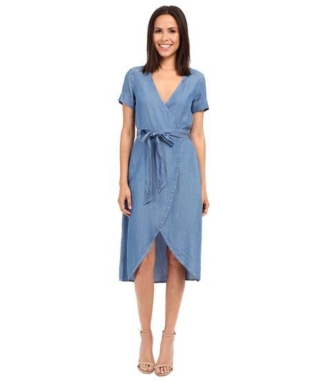 Kr378 Denim Dress 1 lyst 7 for all mankind denim wrap dress in blue
