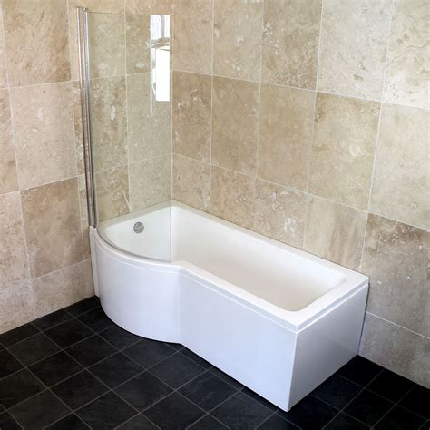 p shaped shower baths bathroom 1500 1600 1700 left right p shaped shower bath with shower screen ebay