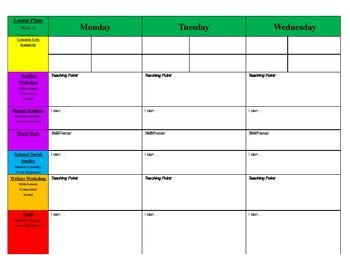 printable weekly lesson plan template free weekly lesson plan template and resources