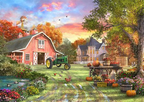 Large Victorian House Plans by Autumn Farm Painting By Dominic Davison