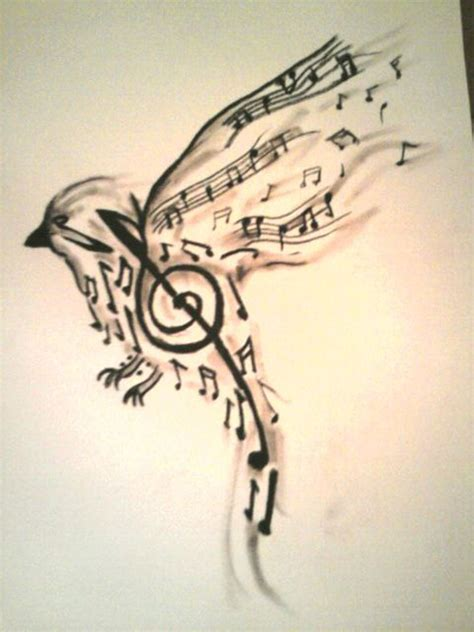 music design tattoo ideas bird made up of notes design tattoos book