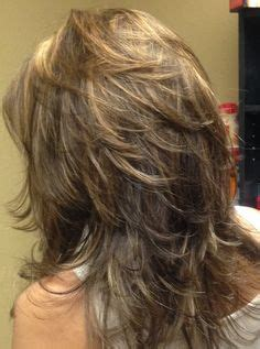 hair shoulder length feathered high crown long layered haircuts back view medium length layered