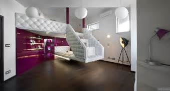 split bedrooms split level plush futuristic retro bedroom in white and patent fuscia with tripod spot l