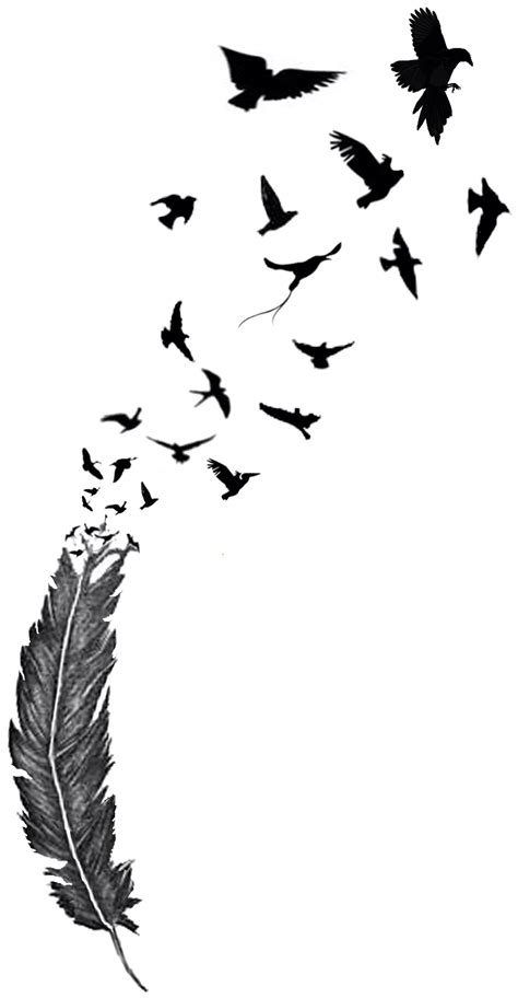 feather with birds flying out tattoo birds of a feather feathers bird and