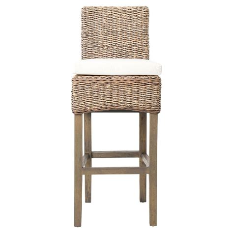 Woven Stools by Sisson Coastal Woven Banana Leaf Wood Counter Stool