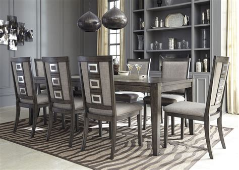 Grey Dining Room Furniture Chadoni Gray Rectangular Extendable Dining Room Set D624 35