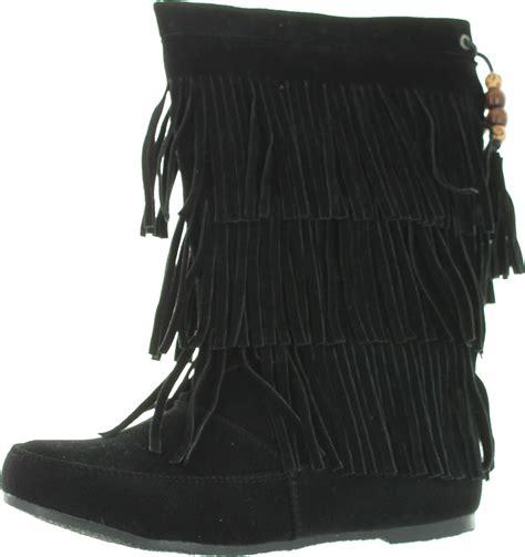 west blvd womens lima suede fringe moccasin boots ebay