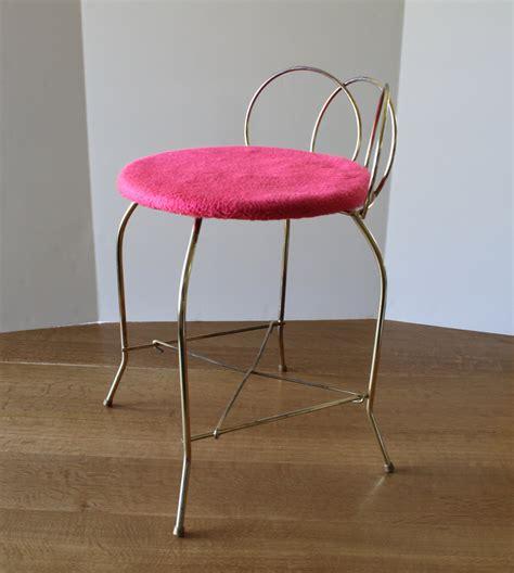 Metal Vanity Chair vintage vanity chair metal bench stool retro mod pink