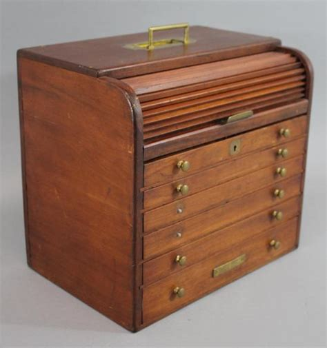 Roll Top Cabinet by Small Antique Traveling Dental Tool Walnut Cabinet Roll