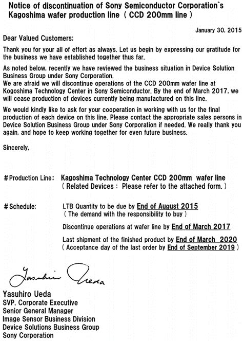Sle Letter For Product Discontinuation Image Sensors World Sony To Discontinue Ccd Products