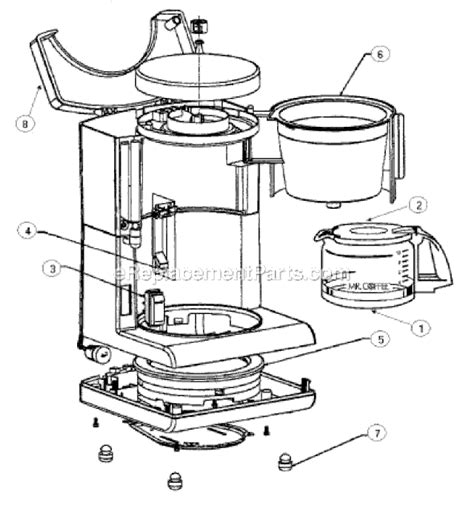 mr coffee parts diagram mr coffee ad10 parts list and diagram ereplacementparts