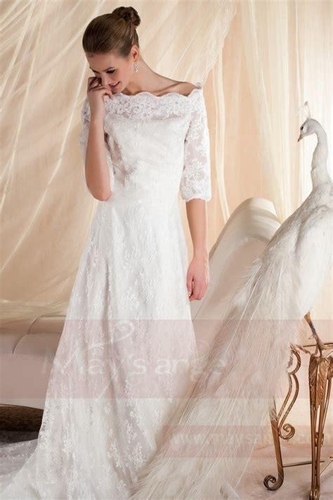 robe de mari 233 e vintage avec manche dentelle blanche pas cher