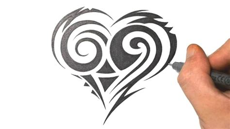 pretty heart tattoo designs how to draw a tribal design just draw