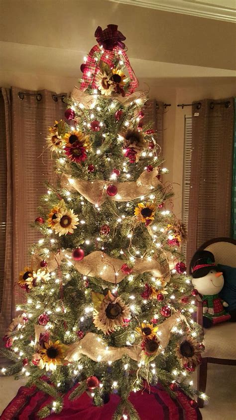 sunflower theme christmas tree plaidburlap creationsbygec cheap christmas trees christmas