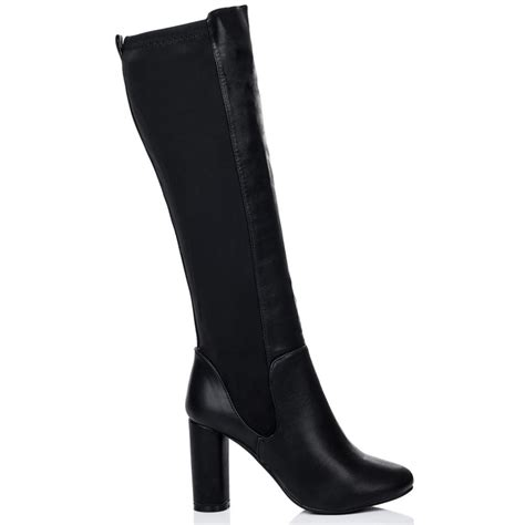 high heel leather boots for torque black knee high boots from spylovebuy