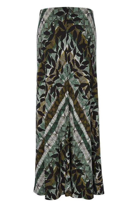 Leaf Maxi leaf and chevron print maxi skirt in green