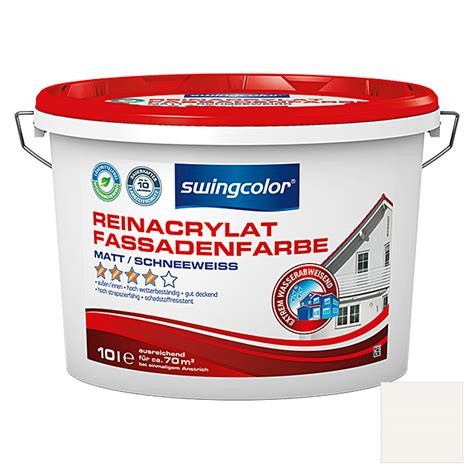 fassadenfarbe bauhaus swingcolor reinacrylat fassadenfarbe schneewei 223 10 l