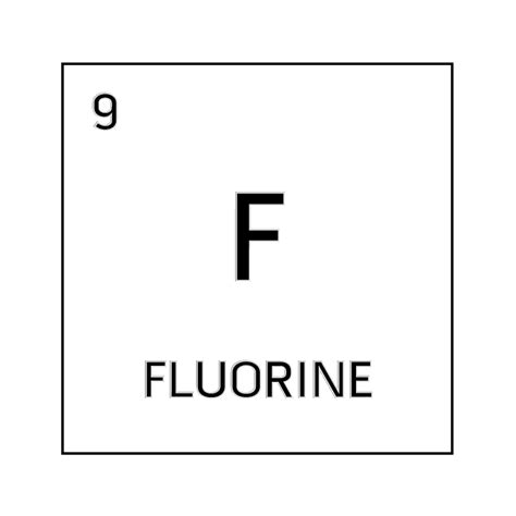 Fluorine Periodic Table by Black And White Element Cell For Fluorine Science Notes