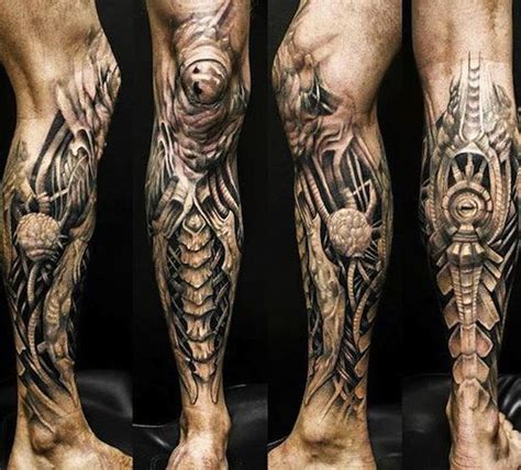 biomechanical tattoo knee cool leg and knee biomechanical tattoos egodesigns