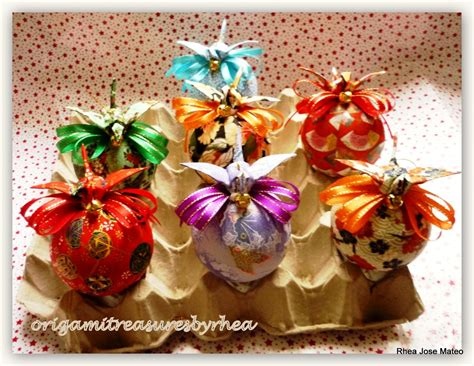 washi paper ornament washi balls with crane tops ornaments origami treasures by rhea