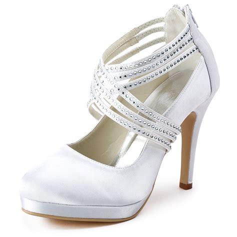 bridal shoes platform high heels ep11085 pf ivory satin closed toe platform high heel