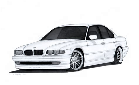 how things work cars 2001 bmw 7 series engine control bmw 740i e38 drawing by vertualissimo on