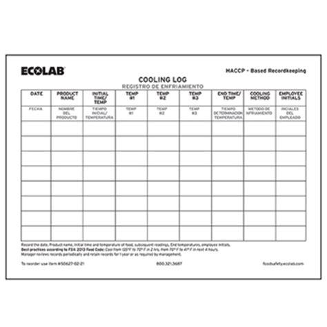 Item Ecolab Cooling Temperature Log Water Temperature Log Template