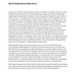 work experience narrative m johnson
