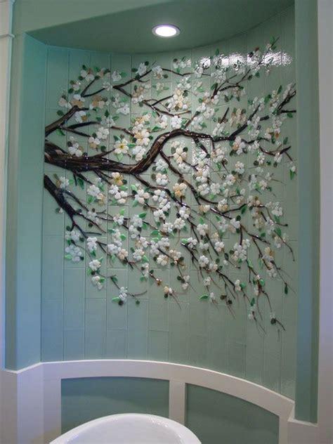 dogwood branch mural  fused glass tiles designer glass