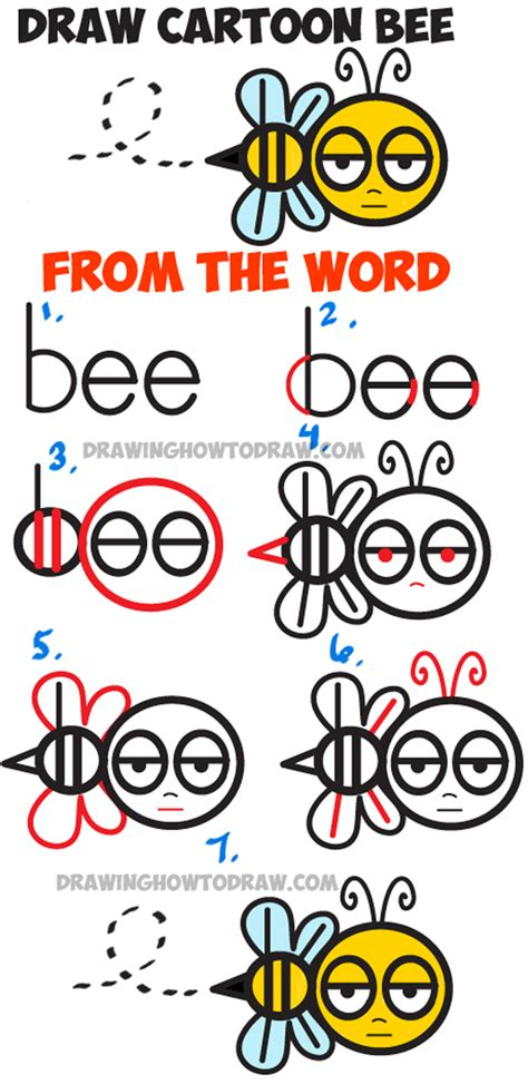how to draw doodle words how to draw bee from the word quot bee quot easy step by