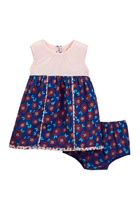 Setelan Anak N Bab Set Blue Flower tucker tate contrast piping dress cover set baby nordstrom rack