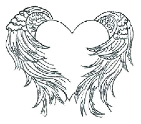 coloring pages of hearts with wings heart with wings coloring pages angel wings coloring pages
