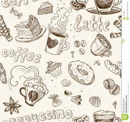 Kitchen Collection Careers seamless pattern with coffee cakes pies and latte royalty