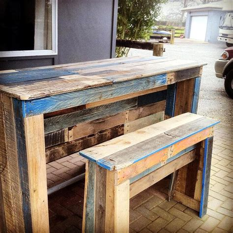 wooden bar bench outdoor pallet bar patio furniture