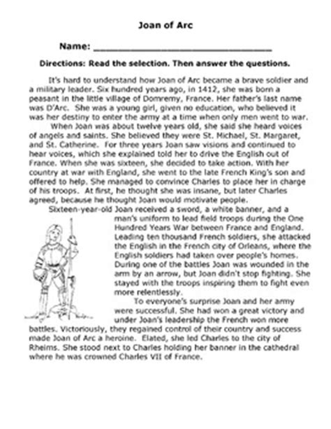 reading comprehension test multiple choice questions biography joan of arc reading comprehension multiple
